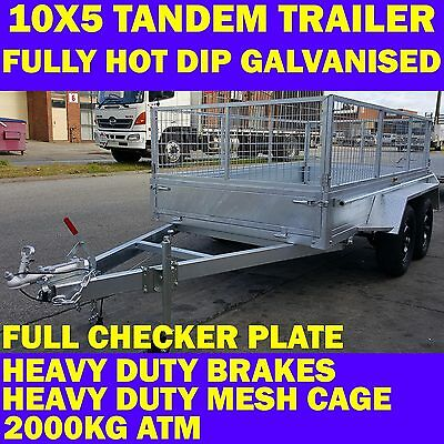 10x5 galvanised tandem trailer with cage 2000kgs new