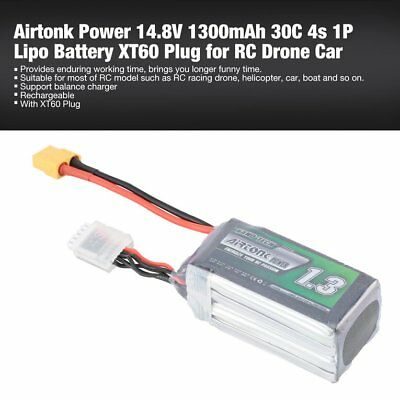 Airtonk Power 14.8V 1300mAh 30C 4s 1P Lipo Battery XT60 Plug for RC Drone Car DU