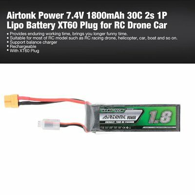 Airtonk Power 7.4V 1800mAh 30C 2s 1P Lipo Battery XT60 Plug for RC Drone Car DU