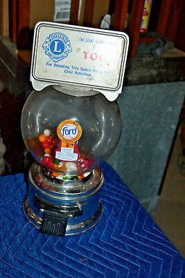 Vintage Ford Gum Ball Machine Penny 1 Cent Gumball Countertop 1960's Crome
