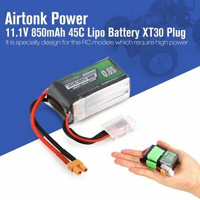 Airtonk Power 11.1V 850mAh 45C 3s 1P Lipo Battery XT30 Plug for RC Drone Car DU