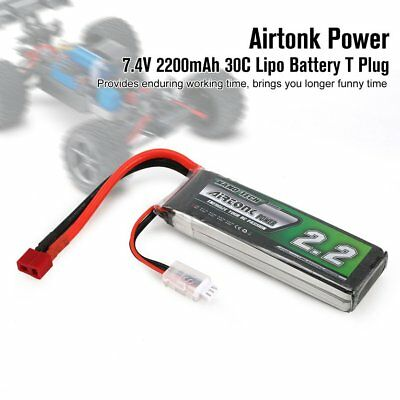 Airtonk Power 7.4V 2200mAh 30C 2S 1P Lipo Battery T Plug for RC Drone Car DU