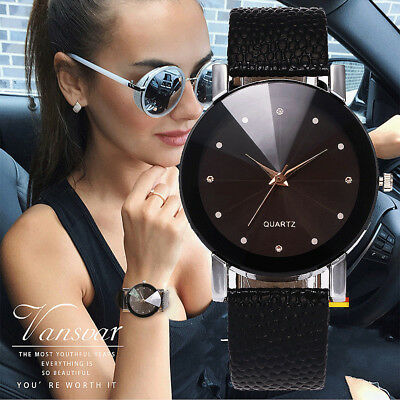 Vansvar Women's Casual Quartz Leather Strap Watch Analog Crystal Wrist Watches