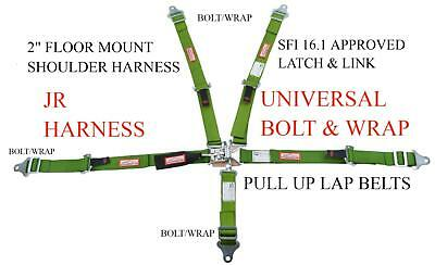 Universal Jr Dragster 5 Point Race Harness Wrap Or Bolt Floor Mount Lime Green