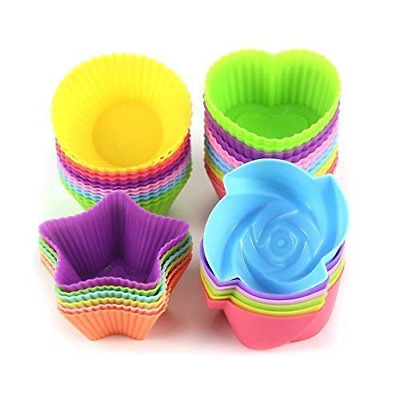 LetGoShop 24-Pcs Reusable Silicone Cake Molds Baking Molds Muffin Cups, Nonstick