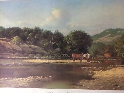 Hill Country Crossing By George Kovacs Vintage Lithograph Kerrville Texas Art