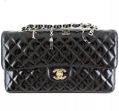 Rare Black Patent   Pink CHANEL 2.55 Flap 5TH GINZA ANNIVERSARY Quilted  Handbag f0459df084891