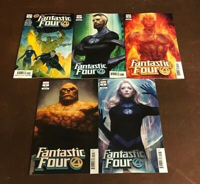 5x FANTASTIC FOUR 1; ARTGERM HUMAN TORCH THING INVISIBLE WOMAN REED VARIANT