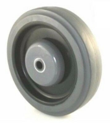 "(Qty.4)Gray Soft Rubber 5"" x 1-1/4"" Shopping Cart Wheel with 5/16"" ID Ball Bea"