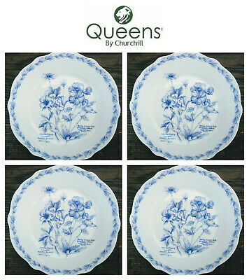 NEW!Queens By Churchill 4 Tea PLATES Blue Royal Horticultural Society Porcelain