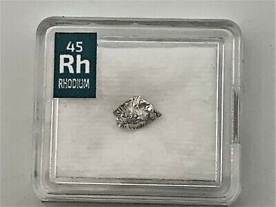 Rhodium Metal Very Rare Crystal 0.15 Grams 99.99% pure in Periodic Element tile
