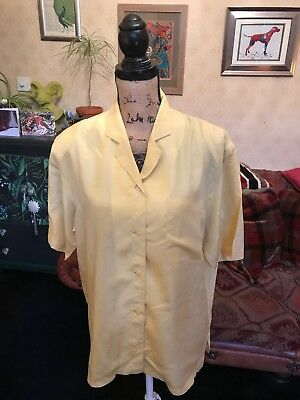 82b98e8aeee15 Ladies Vintage Yellow Pure Silk Short Sleeve Blouse Shirt Top UK Size 14  Eur 40