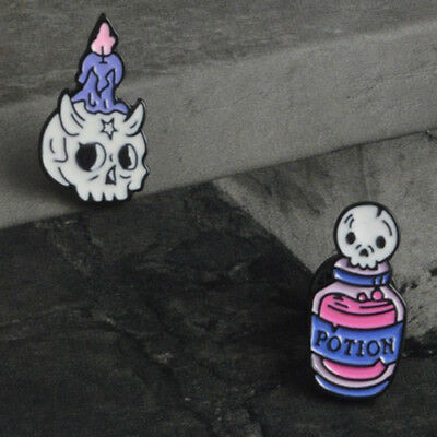 Lot 2 Pin Gothic Brooch Potion Candle Skeleton Skull Witch Pin's Broche Gothique