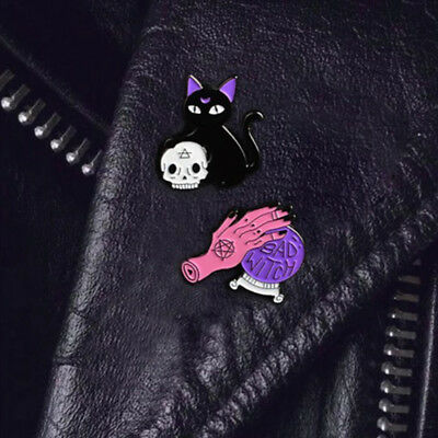 Lot 2 Pin Gothic Brooch Bad Cat Skull Crystal Witch Chat Pin's Broche Gothique