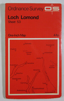 1965 Old Vintage OS Ordnance Survey One-inch Seventh Series Map 53 Loch Lomond