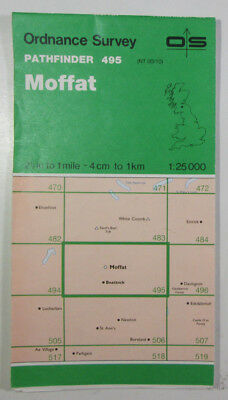 Old Vintage 1988 OS Pathfinder Map 495 Moffat NT 00/10 Ordnance Survey 1:25000
