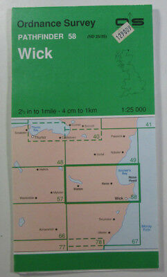 1978 Old Vintage OS Ordnance Survey 1:25000 Pathfinder Map 58 Wick ND 25/35