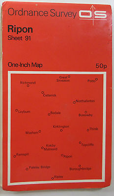 1972 old vintage OS Ordnance Survey seventh series one-inch Map 91 Ripon
