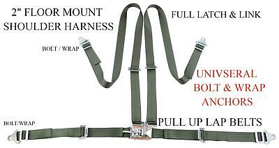Floor Mount 4 Point Harness Racing Seat Belt Latch & Link  Military Green