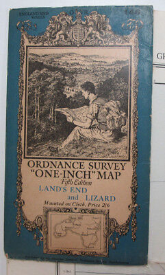 Old 1934 OS One-Inch Fifth Edition Map 146 Land's End & Lizard Ordnance Survey