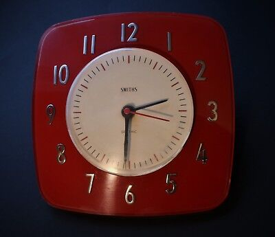 Mid Century Smiths Sectric Red Wall Clock (converted to quartz)