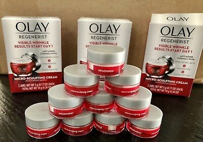 OLAY Regenerist Micro Sculpting Cream  10 Jars Travel Size .17 oz (1.7 oz Total)