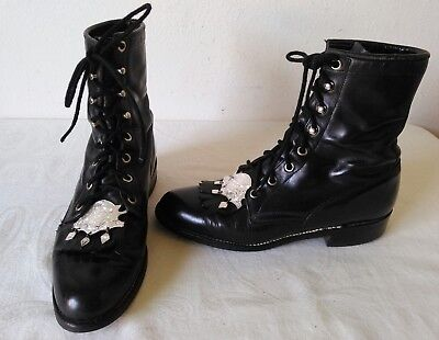 5ff58ba1514b JUSTIN Lady s Black Leather Western Roper lace up kiltie ankle boots Size 6  B