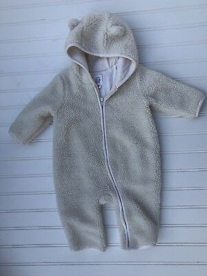 1a3e62914 Baby Gap 3 6 Months Infant Baby Sherpa Bear Hoodie Bunting Snowsuit Ivory  White