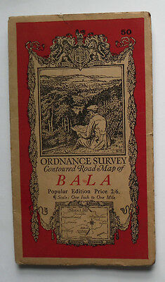 1933 Vintage OS map Popular Edition one inch to one mile Sheet 50 Bala - cloth