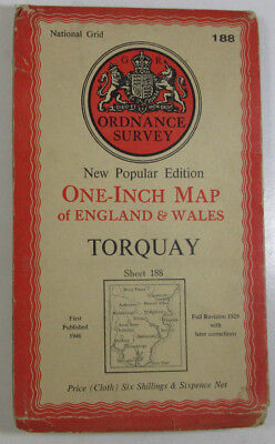 1947 Old OS Ordnance Survey One-inch New Popular Edition CLOTH Map 188 Torquay