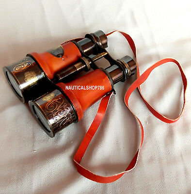 Nautical Maritime Victorian London Brass Leather Binocular Sailor Replica Gift