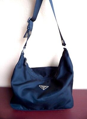 15e8ed026c82 PRADA BLACK VELA SPORT NYLON   Leather Adjustable Shoulder Bag EUC!  Authentic!