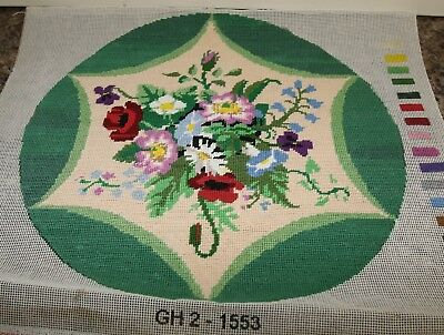 Completed cross stitch tapestry Flowers circular pattern Twilleys GH2-1553 cushi