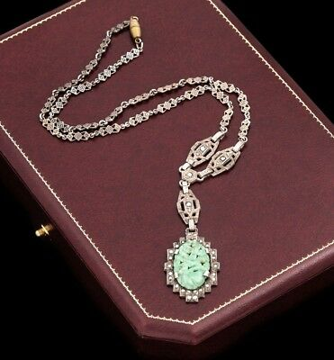Antique Vintage Deco Sterling Silver Jadeite Jade Marcasite Lavaliere Necklace