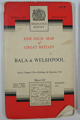 1963 old OS Ordnance Survey one-inch seventh Series Map 117 Bala & Welshpool