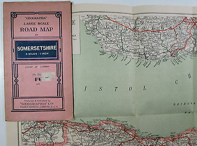 1943 old vintage Geographia large scale road map Somersetshire 3 miles 1 inch