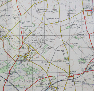1969 Old Vintage OS Ordnance Survey Seventh Series One-Inch Map 104 Gainsborough