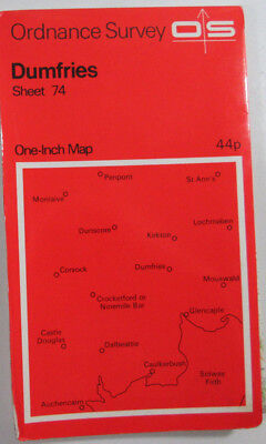1965 old vintage OS Ordnance Survey One-inch Seventh Series Map 74 Dumfries