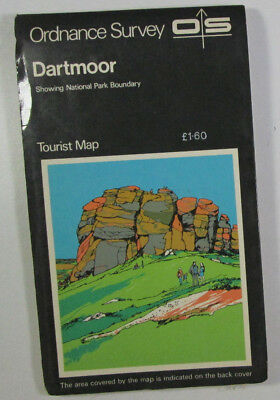 1979 Old Vintage OS Ordnance Survey One Inch Tourist Map Dartmoor
