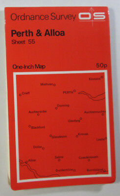 1972 Old Vintage OS Ordnance Survey One-Inch Seventh Series Map 55 Perth & Alloa