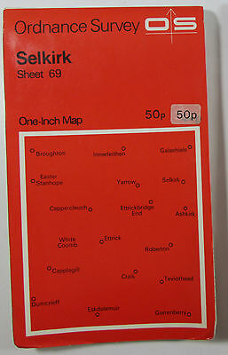 1964 old vintage OS Ordnance Survey one-inch Seventh Series Map 69 Selkirk