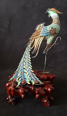 Antique Chinese Silver & Cloisonne Bird of Paradise