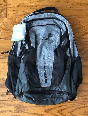 635db8082f NWT Under Armour UA Hustle 3.0 Storm Black Gray Backpack Book Bag NEW