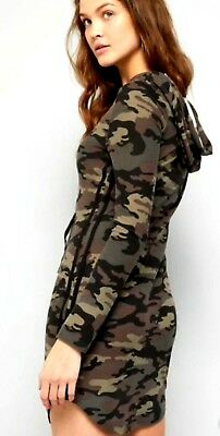 7a470ada50e Camo Hooded Camouflage Mini Dress long tunic t-shirt tee pockets Army S M L  2-