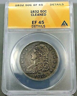 1832 50c Capped Bust Half Dollar EF45 XF45 DETAILS CLEANED