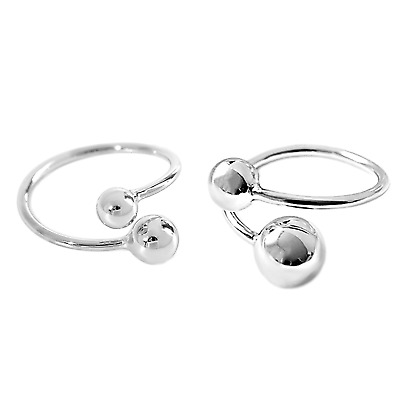 Solid 925 Sterling Silver Twist Ball Double Bead Wrap Ring Sizable UK L-P