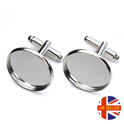 Silver Cufflink Setting Blanks Fits 16mm Cabochon Jewellery Making