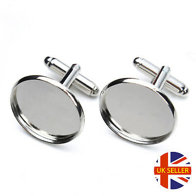 Silver Cufflink Setting Blanks Fits 18mm Cabochon Jewellery Making