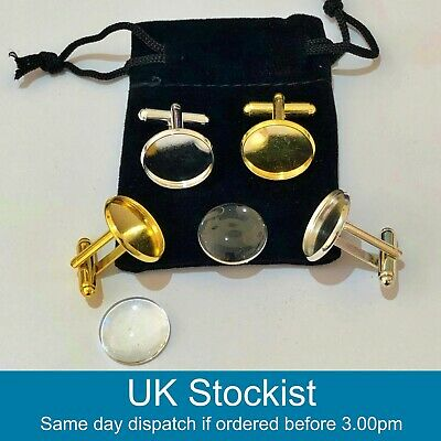 Cufflink blanks with matching glass cabochons 18mm with velvet jewellery bag