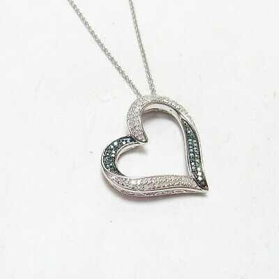 Sterling Silver 925 Blue & White Diamond Heart Pendant with Chain